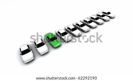 Ten generic cars with one green
