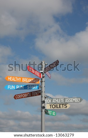 Ten kilometer race sign post, Aberdeen - stock photo