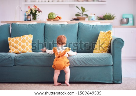 ten month old, infant baby girl in yellow bodysuit is standing, leaning on sofa at home #1509649535