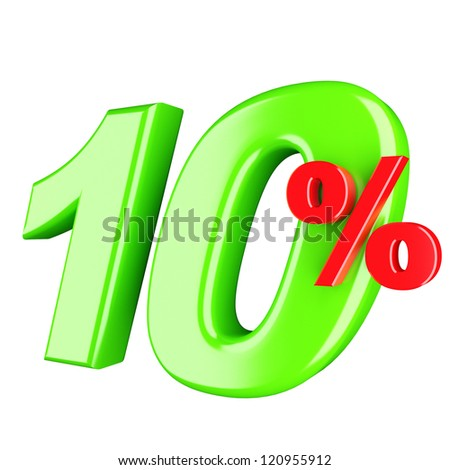 Ten percent. 3d render isolated - stock photo