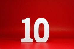 Ten ( 10 ) Percentage Isolated Red  Background with Copy Space - Discount 10% Safe Price Business finance promotion Concept - number object