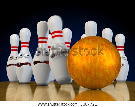 Ten pin bowling pins bracing for impact from the bowling ball