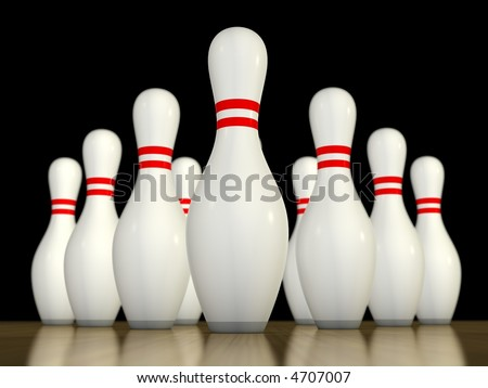 Ten pin bowling pins ready to be bowled over