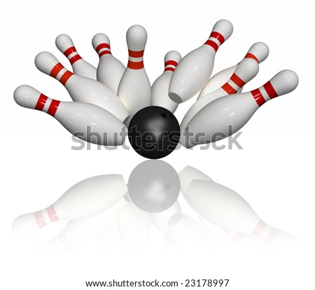 Ten pins in red and white and one black bowling ball - strike - isolated