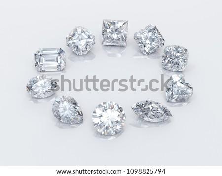 Ten popular diamond shapes on white background. 3D rendering illustration