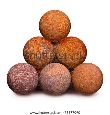 Ten rusty iron cannon balls isolated on a white background