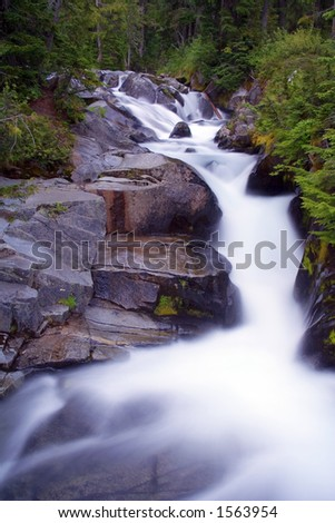 Ten Second Night Exposure of Paradise River, Mt. Rainier National Park, Washington State, USA