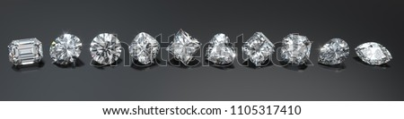 Ten the most popular diamond shapes in line on glosy black background. Round brilliant, princess, heart, cushion, emerald, marquise, oval, pear, asscher, radiant.3D rendering illustration