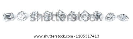 Ten the most popular diamond shapes in line on white background. Round brilliant, princess, heart, cushion, emerald, marquise, oval, pear, asscher, radiant.3D rendering illustration