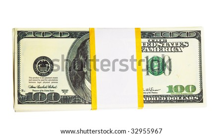 Ten thousand U.S. dollars in a bundle isolated on white background