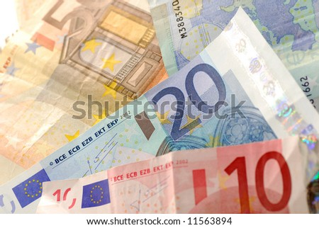 Ten, twenty and fifty Euro banknotes.