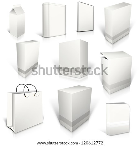 Ten white blank boxes isolated on white background ready to be personalized by you.