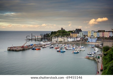 Tenby Harbour in Wales at sunset