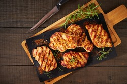 Tender boneless grilled pork chops, top view
