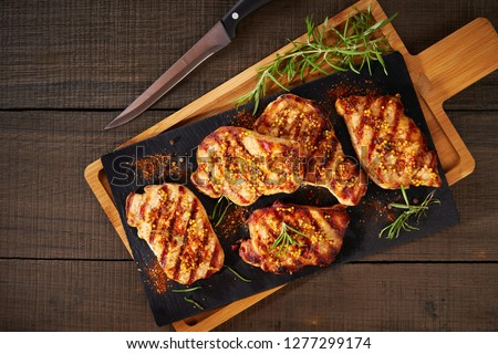Photo of  Tender boneless grilled pork chops, top view