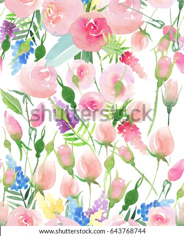 Tender delicate cute elegant lovely floral colorful spring summer red, blue, purple and yellow wildflowers and pink roses with green leaves pattern watercolor hand illustration