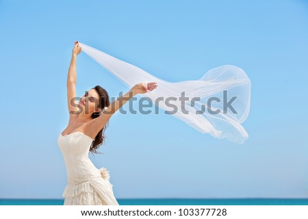 tender young bride against the blue sky and ocean. she keeps at hands waving in the wind veil