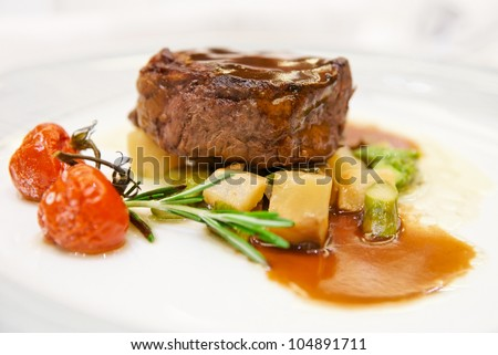 Tenderloin steak on restaurant table