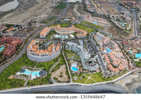 Tenerife, Canary islands - april 3, 2019: Aerial photo of hotel areas on the coast of Adeje in the south of the island #1359648647