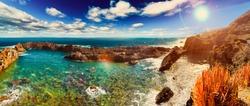 Tenerife island scenery.Puerto de la cruz village.Nature scenic seascape in Canary Island.Travel adventures landscape