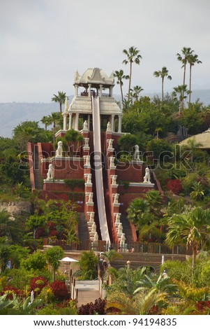 TENERIFE ISLAND, SPAIN - MAY 17: Tower of Power water attraction in Siam Park on May 17, 2010 in Tenerife, Spain. Siam Park is the most spectacular theme park with water attractions in Europe.