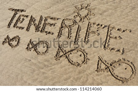 Tenerife, sand writing on the beach of El Papagayo, Spain