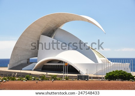 TENERIFE, SPAIN - AUGUST 18, 2010: Auditorio de Tenerife - futuristic building designed by Santiago Calatrava Valls #247548433