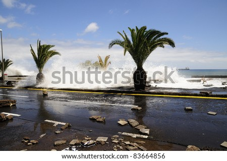 TENERIFE, SPAIN - AUGUST 29: Flooding due to high tide that flooded in heavy seas, the whole neighborhood of San Andres. August 29, 2011 in San Andres, Tenerife (Canary Islands) Spain.