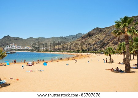 TENERIFE, SPAIN - JUNE 23: A view of Teresitas Beach on June 23, 2011 in Tenerife, Canary Islands, Spain. This is the nearest beach to Santa Cruz and one of the few in the North-East of the island