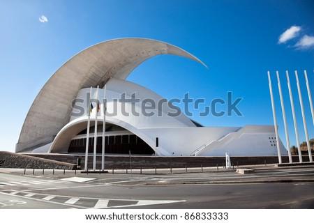 TENERIFE, SPAIN - SEPTEMBER 16: Auditorio de Tenerife on September 16, 2011.Designed by architect Santiago Calatrava Valls become an architectural symbol of city Santa Cruz de Tenerife. #86833333