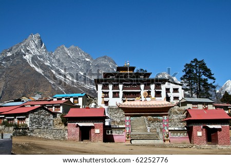 Tengboche - Buddhist Tibetan Monastery in Khumbu, Mont Everest region, Nepal. Sagarmatha National Park.