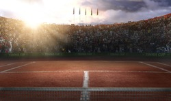 Tenis court Stadium red ground in sunset 3d rendering