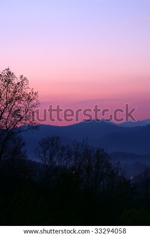 Tennessee Foothills Parkway Sunrise Vertical With Copy Space