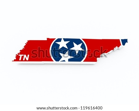 tennessee state flag on 3d map