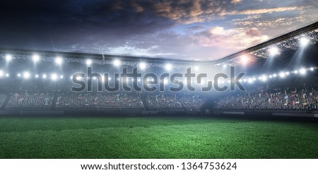 Tennis arena at night with spotlights #1364753624