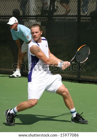 Tennis Backhand - Alex Bogomolov of Russia playing in a qualifying round of the Leggmason Classic Tournament of the US Open Series, August 9, 2008