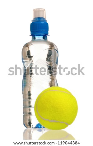 Tennis ball and bottle of water isolated on white background