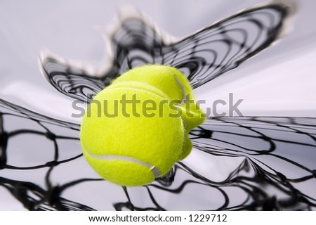 Tennis ball and net with distorted reflections