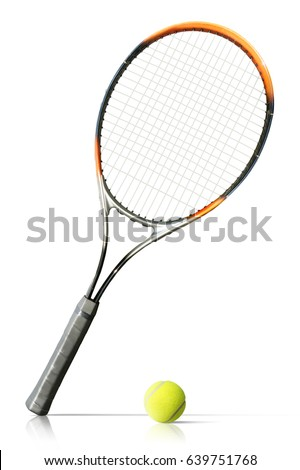 Tennis ball and racket isolated the white background