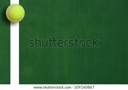 Tennis Ball in Corner court Tennis game sport background for design