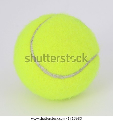 Tennis ball isolated on white, close-up, copy space, macro,