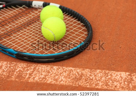 Tennis ball on Tennis court - stock photo