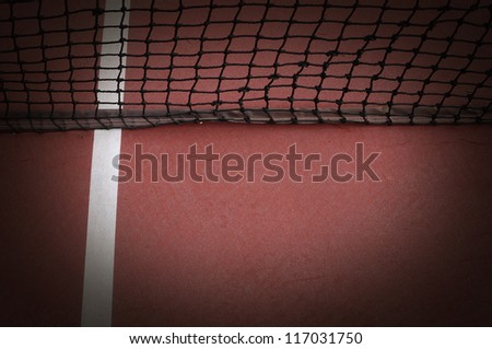 tennis ball on the Grass court orange and net background for design