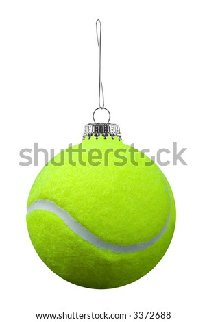 tennis ball ornament isolated over a white background