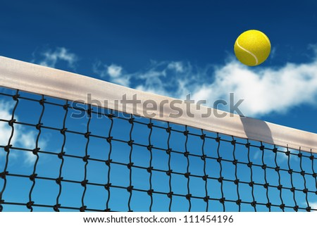 Tennis Ball over Net with background sky