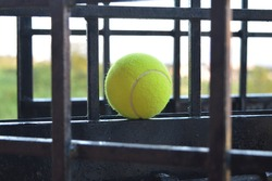 Tennis ball placed in the iron grills