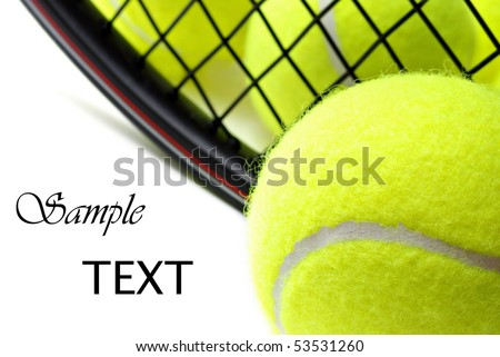 Tennis balls and racquet on white background with copy space.  Macro with shallow dof. - stock photo
