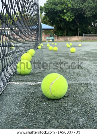 Tennis Balls on a Tennis Court; Tennis Net; Florida 2019