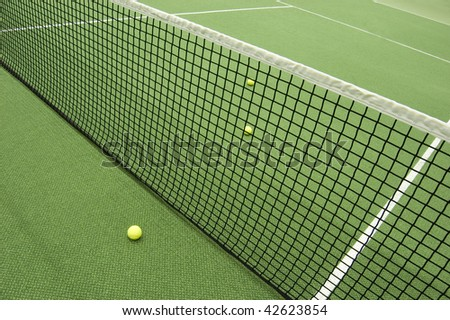 Tennis composition. Yellow ball, lines and court.