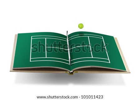 tennis cort book with tennis ball
